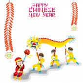 Chinese New Year Frame with Dragon Dancing — Stok Vektör