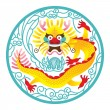 Chinese Dragon in circle — Stock Vector #61580365