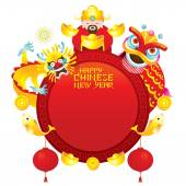 Chinese New Year Frame with God Dragon and Lion — Stock Vector