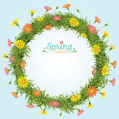 Flowers Spring Season Wreath — Stock Vector
