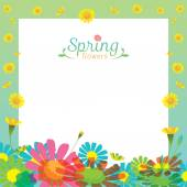 Flowers Spring Season Frame — Stock Vector