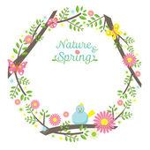 Spring Season Icons Wreath — Stock Vector