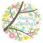 Spring Season Icons Heading — Stock Vector