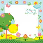 Spring Season Icons Frame — Stock Vector