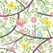 Spring Season Seamless Pattern — Stock Vector