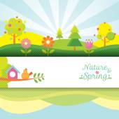 Spring Season Object Icons Banner & Background — Stock Vector