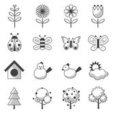 Spring Season Object Icons Set — Stock Vector