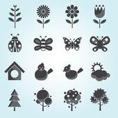 Spring Season Object Icons Set — Stock Vector