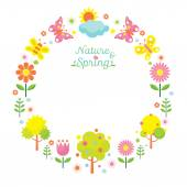 Spring Season Object Icons Wreath — Stock Vector