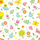 Spring Season Object Icons Seamless Pattern — Stock Vector