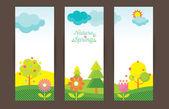 Spring Season Object Icons Backdrop — Stock Vector