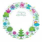Spring Season Object Icons Wreath Hand Draw Style — Stock Vector