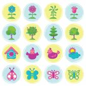 Spring Season Object Icons Set Hand Draw Style — Stock Vector