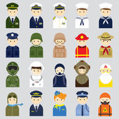 Various People Symbol Icons Officer and Uniform Set — Stock Vector