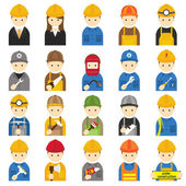 Worker, Craftsman, Symbol Icons Set — Stock Vector