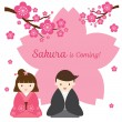 Cherry Blossoms or Sakura flowers with Japanese Couple — Stock Vector #66626797