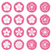 Cherry Blossoms or Sakura flowers Icons Set — 图库矢量图片