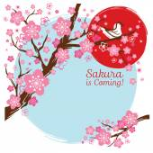 Cherry Blossoms or Sakura flowers with Bird on the Branch — Stock Vector