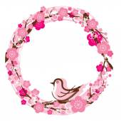 Cherry Blossoms or Sakura flowers Wreath — 图库矢量图片