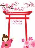 Cherry Blossoms or Sakura with Torii Gate and Kimono Girl — 图库矢量图片