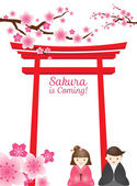 Cherry Blossoms or Sakura flowers with Torii Gate and Couple — 图库矢量图片