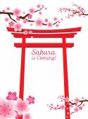 Cherry Blossoms or Sakura flowers with Torii Gate — 图库矢量图片