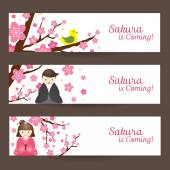 Cherry Blossoms or Sakura flowers with Japanese Couple Banner — 图库矢量图片