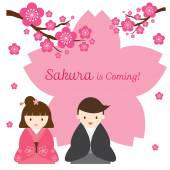 Cherry Blossoms or Sakura flowers with Japanese Couple — 图库矢量图片