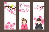 Cherry Blossoms or Sakura flowers with Japanese Couple Backdrop — 图库矢量图片