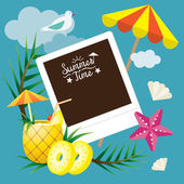 Pineapple Fruit and Summer Objects with Instant Film Frame Background — Stock Vector