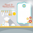 Chef at Restaurant Counter with Blank Sign — Stock Vector #70127099