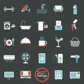 Hotel Accommodation Amenities Services Icons Set B — Stock Vector