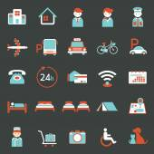 Hotel Accommodation Amenities Services Icons Set A — Stock Vector