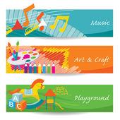 Música, arte, Playground para Banner de jardim de infância — Vetor de Stock