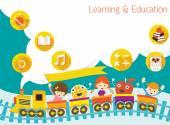 School, Train, Kids Text Balloon Background — Stock Vector