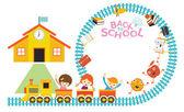 School, Train, Kids Frame — Vector de stock