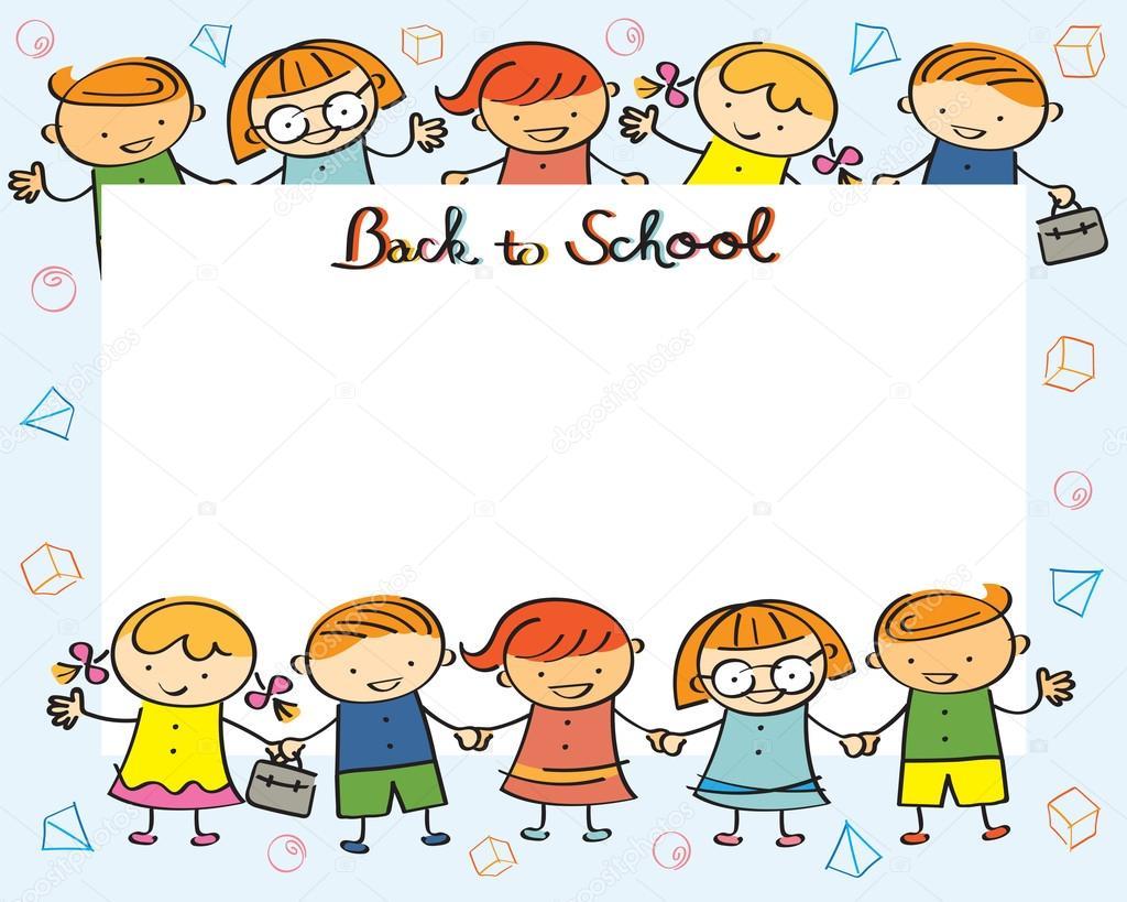 de infantes, niños volver al marco de la escuela – Ilustración de
