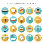 Furniture Flat Icons Set — Stock Vector