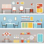 Furniture in Office, Kitchen, Outdoor — Stock Vector