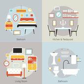 Furniture in Bedroom, Restaurant, Bathroom, Living Room — Cтоковый вектор