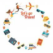 Couple run with Travel Objects Icons Round Frame — Stock Vector