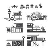 Mode of Transport Illustration Icons Objects Monochrome — Stock Vector