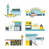 Mode of Transport Illustration Icons Objects — Stock Vector