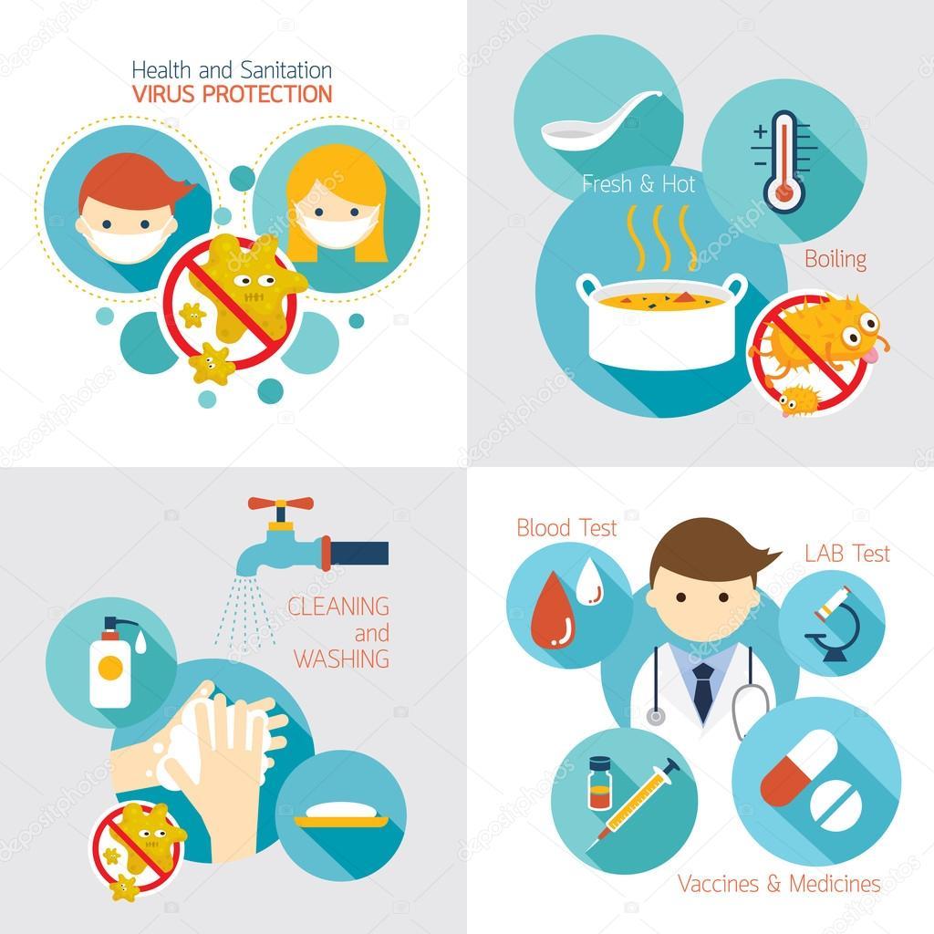 Vector E Sanitary Service : Saúde e saneamento infográficos — vetores de stock