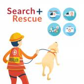 Rescuer with Dog, Search and Rescue Icons — Stock Vector