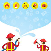 Firefighter carry Hose Flushing Water with Icons and Background — Stock Vector