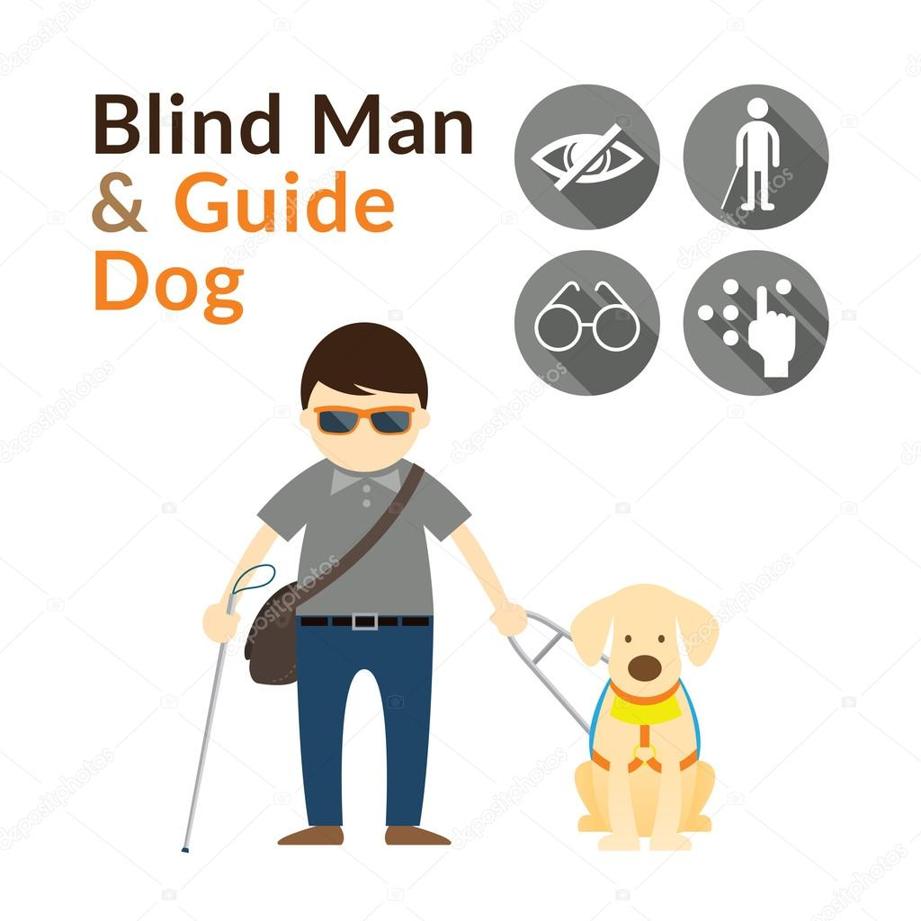 Man Walking With Blind Stick And Seeing Eye Dog