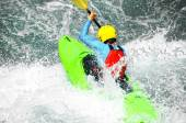 White water kayaking as extreme and fun sport — Stock Photo