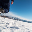 Mountaineer reaches the top of a snowy mountain. — Стоковое фото #58507897