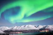 Northern lights above fjords in northern Norway — Photo